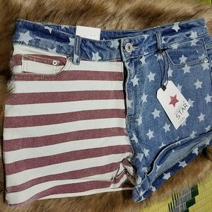 Vanilla Star 4th of July Jean Shorts sz 13